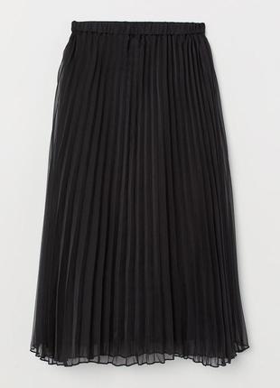 Юбка плессировка чёрная большой размер батал