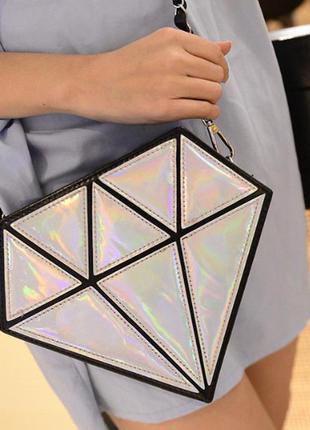 Сумочка голографическая алмаз с цепочкой через плечо