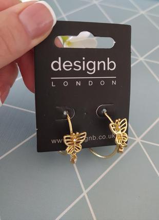 Сережки кільця з метеликом, серьги кольца с бабочкой designb asos