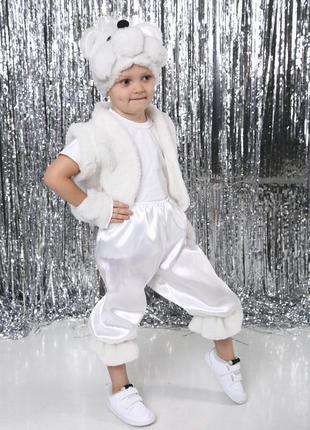 Новогодний костюм мишка умка медвежонок белый шапка жилет штаники лапки