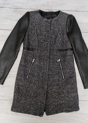 Деми пальто с кожаными рукавами h&m шерсть
