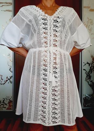 Белоснежное пляжное натуральное платье из 100% вискозы