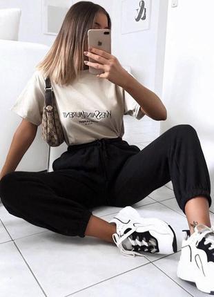 Спортивные штаны джоггеры чёрные спортивки джинсы