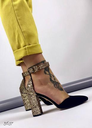 Нереально красивые открытые  туфли лодочки на ремешке замш + блесточки