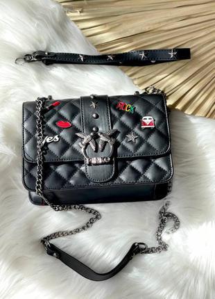 Pinko icon black женская брендовая черная сумочка с пинами и ремешком трендова жіноча модна чорна сумка рок