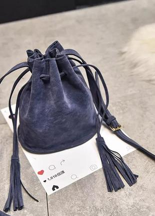 Сумочка торбочка синяя из искусственной замши через плечо