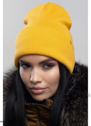 Темно-жовта шапка з кашеміром
