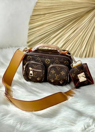 Женская брендовая стильная коричневая сумочка с ремешком жіноча шикарна трендова коричнева сумка