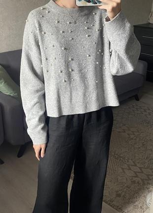 Объёмный свитер, джемпер с бусинами h&m