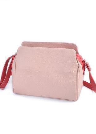 Маленькая розовая сумочка через плечо пудровая мини сумка кросс боди на молнии