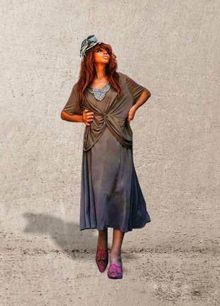 Платье с драпировкой батал большого размера нарядное вечернее 30 длинное с кружевом пайетки lilly & rose