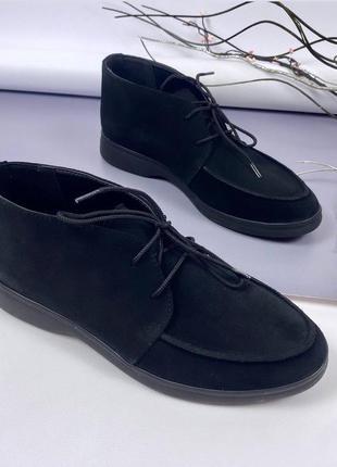 Мягкие черные замшевые лоферы туфли на шнуровке