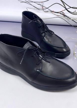 Кожаные туфли лоферы на шнуровке