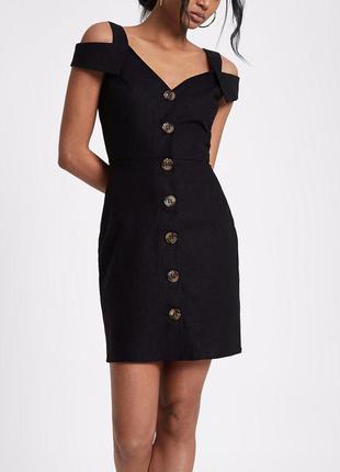 Новое черное натуральное платье с открытыми плечами