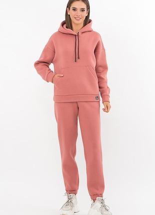 Костюм - двойка, женский спортивный, трехнить с начесом, худи, штаны, розовый персик, с, м, л, хл