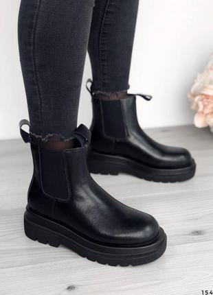 Кожаные ботинки челси натуральная кожа на флисе