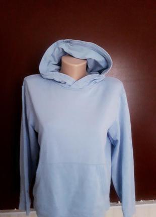 Худи голубое кофта с капюшоном на флисе h&m