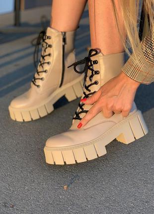 Кожаные ботинки на тракторной подошве 20101