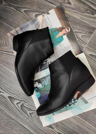 Челси ботинки полуботинки черные кожаные на низком каблуке esprit 37