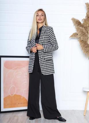 Пиджак на подкладке клетка стильный модный