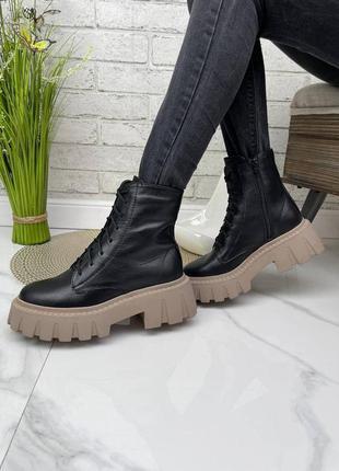 36-41 рр деми / зима високі черевики на платформі натуральна шкіра
