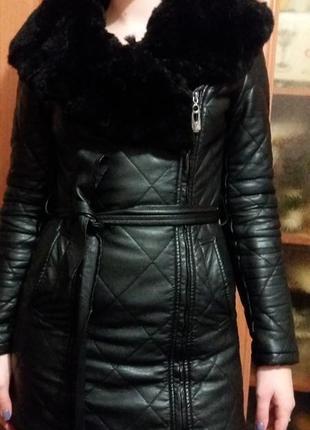 Супер пальто с натуральным мехом