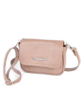 Маленькая коричневая сумочка кросс боди женская мини сумка кофейная через плечо