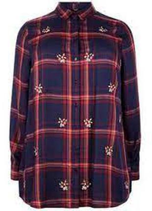 New look блуза рубашка в клетку с вышивкой. 2хл. 16.44