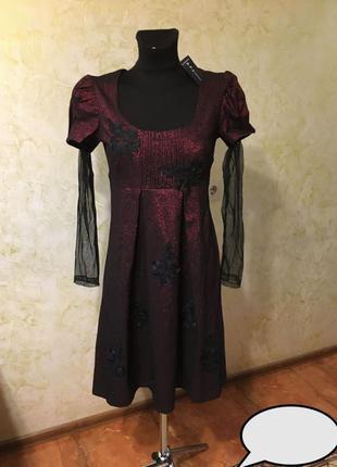 Новое шикарное платье с бархатным выбитым рисунком, с флоком! турция!
