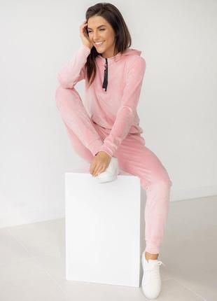 Розовый велюровый костюм худи на молнии с пуллером + штаны, костюм велюровый кофта с капишоном и штаны, домашній костюм