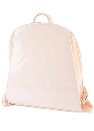 Молочный женский рюкзак лаковый молодежный с телесными вставками модный телесный рюкзак