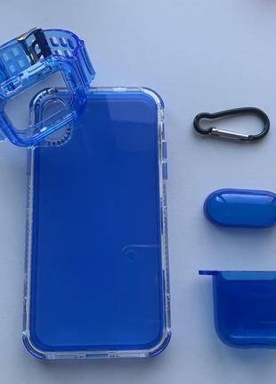 Синий прозрачный силиконовый противоударный чехол на айфон iphone 12 11 pro max xr xs
