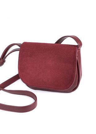 Бордовая маленькая сумочка замшевая модная мини сумка через плечо кросс боди через плечо