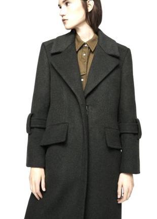 Шерстяное пальто mango миди длины/удлиненное пальто mango 80% шерсть mango