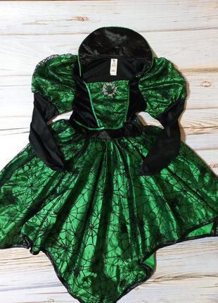 Карнавальный костюм платье на хеллоуин паучиха,ведьма,ночь