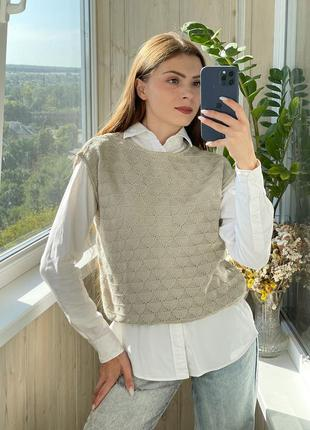 Вязаный молочно кофейный жилет жилетка под рубашку 1+1=3