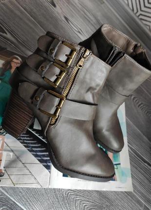 Ботильоны ботинки сапоги коричневые с ремешками на толстом каблуке dorothy perkins 41 7