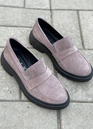 Рр 36-40.капучино  туфли лоферы  из натуральной замши