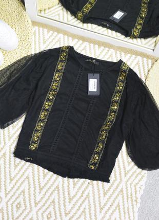 Новая укороченная футболка с пуф рукавами zibi london