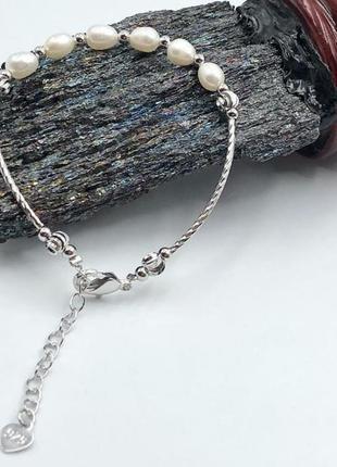 Серебряный браслет с натуральными речным жемчугом