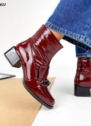 Рр 36-40.бордовые демисезонные ботинки из натуральной кожи