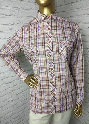 Рубашка в клетку винтаж из тонкого хлопка с примесью р.12 (л)