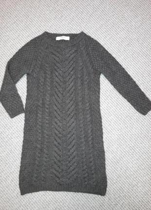 Теплая туника/вязаное платье/бренд/шерсть/мохер