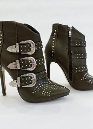 Шикарные ботинки sergio todzi цвета хаки на высоком каблуке