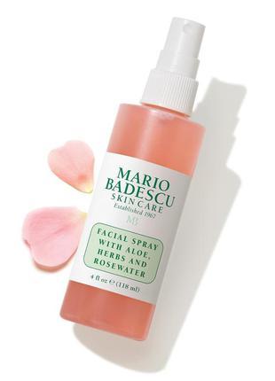 Оригинал! спрей для лица с алое и розовой водой mario badescu facial
