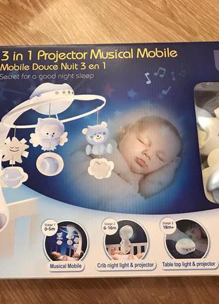 Мобиль для детской кроватки infantino, нежно-голубого цвета