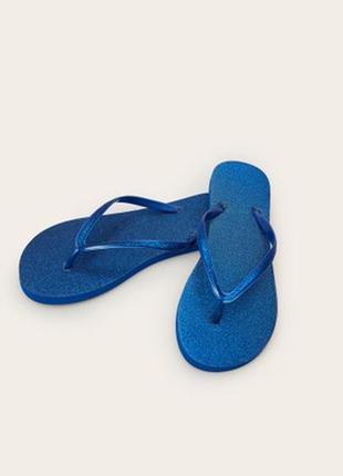 В'єтнамки сині, шлепанцы с блестками, яскраве взуття.