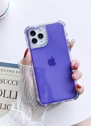 Фиолетовый сиреневый прозрачный силиконовый противоударный чехол на айфон iphone 12 11 pro max xr xs