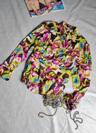 Яркая шелковая рубашка eur 42 riani