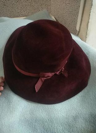 Шикарная велюровая винтажная шляпа